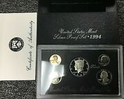 90 Silver 1994 United States Mint Silver Proof Set 5 Coins With Box And Coa