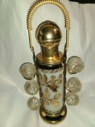 Mcm Rare Gold Leaf And Frosted Glass Barware Pump Decanter Shot Glasses And Caddy