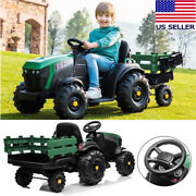Ride On Tractor With Detachable Trailer, Kids Truck Car Toy 12v Battery-powered