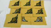 890 Jesurum Italy Andldquomuranoandrdquo Embroidered Placemats X8/gold And Green 100 Cotton