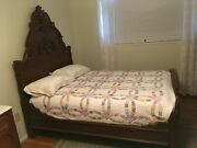 1880andrsquos Antique Walnut Bed And Dresser With Mirror