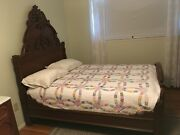 1880's Antique Walnut Bed And Dresser With Mirror