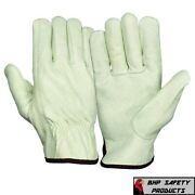 12 Pair Pack, Cowhide Grain Leather Drivers, Work Safety Gloves Ppe All Sizes