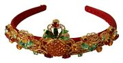 Dolce And Gabbana Headband Red Gold Lace Crystal Pineapple Floral Diadem Rrp 850