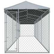 Vidaxl Outdoor Large Dog Kennel With Roof 299x75.6x88.6 Galvanised Steel