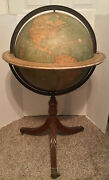 """Antique Weber Costello 18"""" Floor Globe On Carved Base W/ Bronze Lions Feet Rare"""