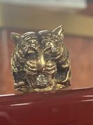 Menand039s Luxury 14k Heavy Yellow Gold And 0.30ct Diamond Tiger Ring Pinky Ring 25.3g