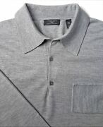 Huntsman And Sons L Wool Gray Sweater Oversized Collar Made England