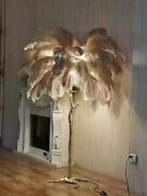 Feather Floor Lamp Living Room Resin Base Palm Tree Ostrich Feathers Lighting