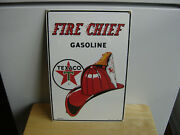 New Vintage 1986 Ande Rooney Texaco Fire Chief Gasoline Porcelain Sign Heavy