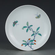 6 Antique Porcelain Qing Dynasty Yongzheng Famille Rose Butterfly Flower Plate