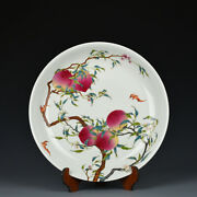 14.2 Chinese Old Antique Porcelain Qing Dynasty Yongzheng Mark Peach Bat Plate