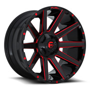 20 Inch Black Red Wheels Rim Fuel Contra D643 20x10 Lifted Toyota Tacoma 4runner