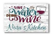 Customized Name Sign Save Water Wood Farmhouse Décor For Home, Kitchen, Wine Bar