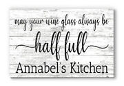 Customized Name Sign Glass Half Full Wood Farmhouse Décor For Kitchen, Wine Bar