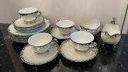Antique Tv Limoges 1934 Cup/saucer Plate Creamer And Sugar Bowl Pearl Lustrous