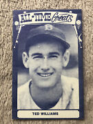 1975 Tcma All-time Greats Stats Blue Front/ Black Back Ted Williams