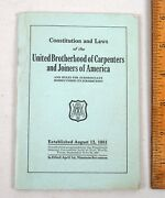 1917 Constitution And Laws United Brotherhood Of Carpenters And Joiners Union