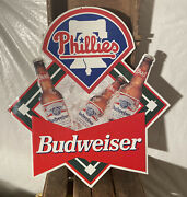 Vintage Phillies Baseball And Budweiser Beer Metal Sign 22 1/2 X 21 Nos