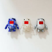 Set Of 3 Domo 2 Qee Metallic Blue, Clear And Silver Hibiscus, Dark Horse Toy2r