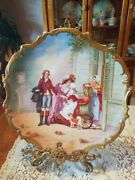 15.5 Magnificent Limoges Figural Scene Porcelain Plaque Charger French Listed