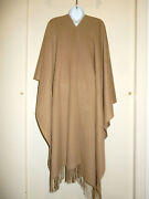 Williams Sonoma 100cashmere Beige/brown Open Front Poncho Fringes Wrap Sweater