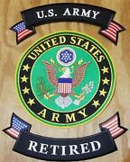 Us Army Retired 10 Large Center Back Patch 3 Piece Set Iron On Free Delivery