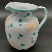 Terracotta Ceramic Pitcher Vase Hand Painted Blue Pink Flowers Spring Home Decor