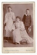 Patriotic Caninet Card, Mother And Children With American Flags Antique Photo