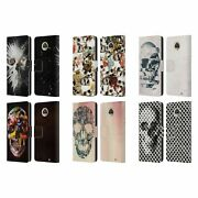 Official Ali Gulec Skull Leather Book Wallet Case Cover For Motorola Phones