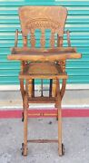Antique Oak Folding Up And Down Child's High Chair And Stroller