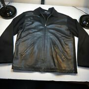 Schiatti And C For Cuzzens Made In Italy Leather Front Jacket Mens Xxl Black