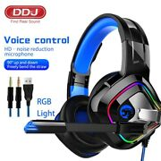 Pro Gaming Headsets With Mic Rgb Light Headphones Super Bass 9d Stereo Pc Laptop