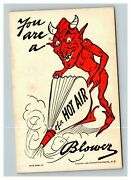 Vintage 1905 Halloween Postcard Devil You Are A Hot Air Blower Funny - Rare