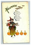 Vintage 1922 Halloween Postcard Singing Witch With Cat Owl Heads Jack O Lanterns