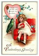 Vintage 1910and039s Valentines Ellen Clapsaddle Postcard Girl Holding Heart And Parrot