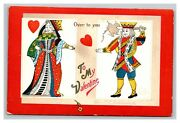 Vintage 1910and039s Ellen Clapsaddle Valentines Postcard King And Queen Of Hearts Nice