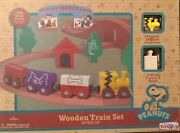 New 28 Piece Peanuts Wooden Train Set Toys R Us Charlie Brown Engine Snoopy