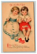 Vintage 1910and039s Clapsaddle Valentines Postcard Cute Children Wolf Publishing