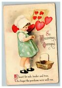 Vintage 1919 Clapsaddle Valentines Postcard Cute Girl Hearts Wolf Publishing