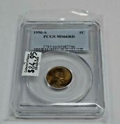 1950-s 1c Lincoln Penny Pcgs Ms66rd Business Strike