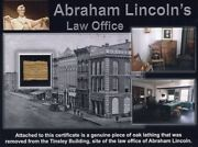 Authentic Piece Of Abraham Lincolnand039s Law Office Site On Gorgeous Certificate Coa