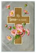 Vintage 1910's Winsch Back Easter Postcard Gold Cross Silver Face Religious Nice