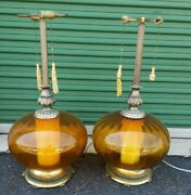 A Pair Of Giant Vintage Amber Glass Globe Floor Lamps 1960's Two-way 3 Tall