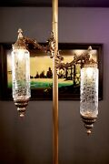 Mid Century Hollywood Regency Brass And Crackle Glass Tension Pole Floor Lamp