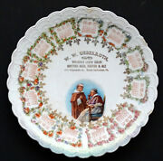 Antique W W Ueberroth Brewery Calendar Plate South Bethlehem Pa / Hosters Beer