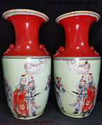 Rare China Two Colors Dynasty Porcelain Mulan Joined The Army Flower Bottle Pair