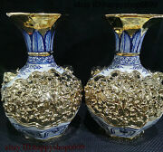 Collect Chinese Ancient Dynasty Porcelain Tiger Head Handle Flower Bottle Pair