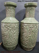Collect China Ancient Dynasty Porcelain Eighteen Arhats Flower Bottle Vase Pair