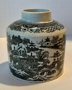 Early English Pearlware Transfer Print Tea Caddy Chinoiserie Provenance C.1820